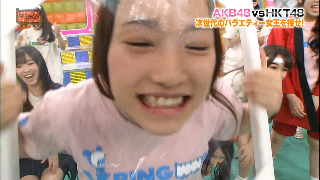 121212_AKBINGO!|HKT兒玉遥とAKB川栄李奈が顔面ラップ割り